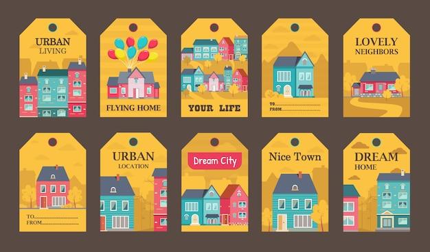 Progettazione di etichette colorate per l'illustrazione di annunci di stile di vita urbano. Vettore gratuito