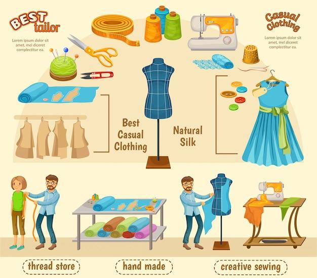 Concetto di infografica sartoria colorato Vettore gratuito