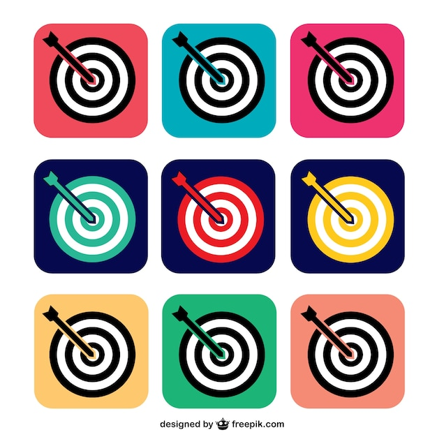 Colorate icone di destinazione Vettore gratuito