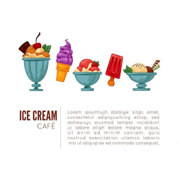 Colorful tasty ice cream. Premium Vector
