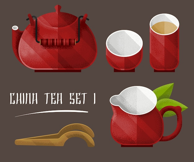 Colorful tea utensil set Free Vector