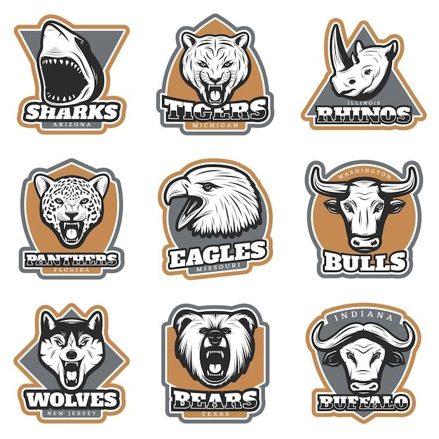 Insieme di logotipi di animali colorati sport di squadra Vettore gratuito