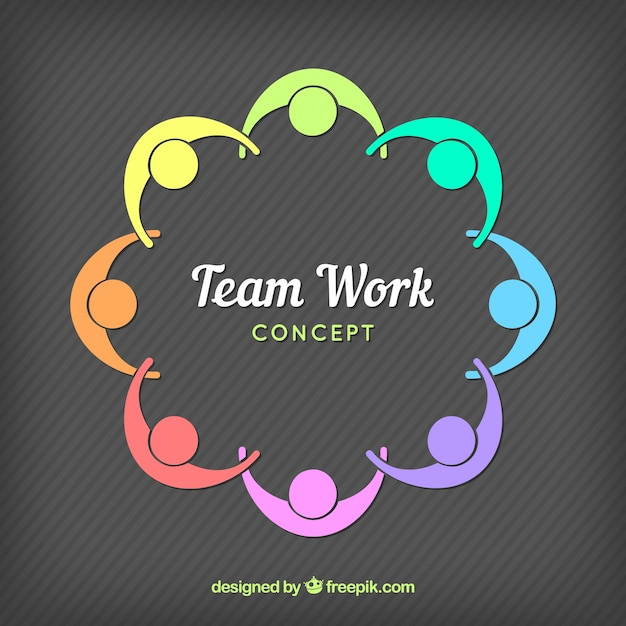 Colorful teamwork composition Free Vector