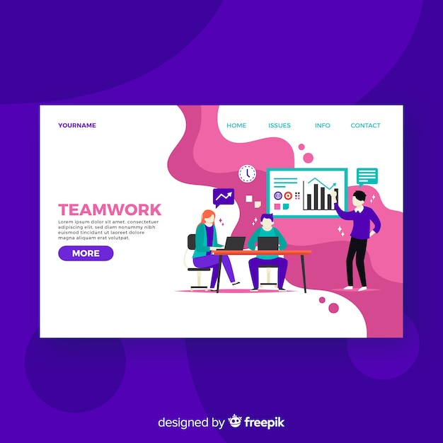 Colorful teamwork landing page Free Vector