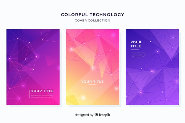 Colorful technology brochure set Free Vector