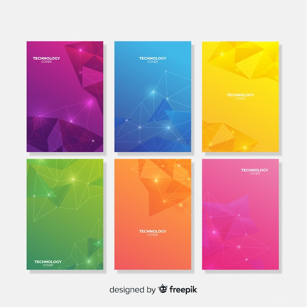 Colorful technology brochure template collection Free Vector
