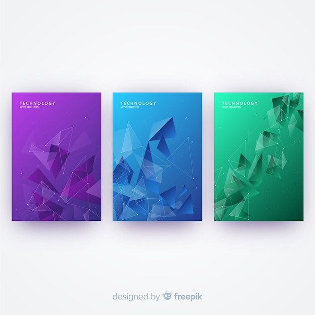 Colorful technology cover collection Free Vector