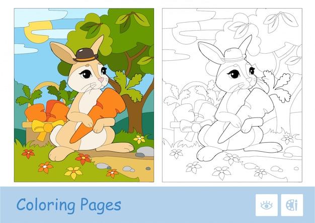 カラフルなテンプレートと森の中のバスケットにニンジンを選ぶ帽子のかわいいウサギの無色の輪郭画像。 Premiumベクター