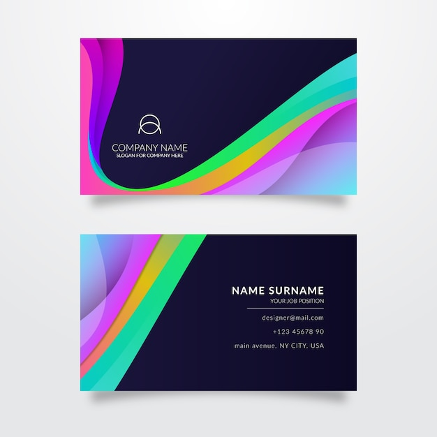Colorful template for business card Free Vector