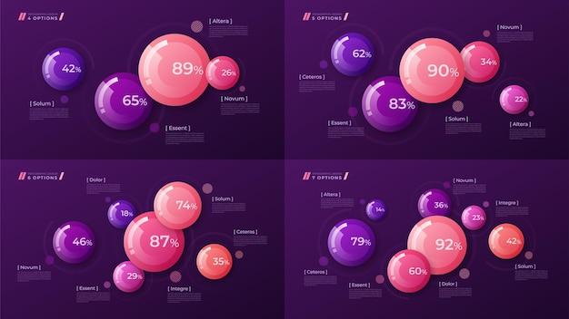 Красочный шаблон для создания инфографики, презентаций, отчетов, визуализаций. глобальные образцы Premium векторы