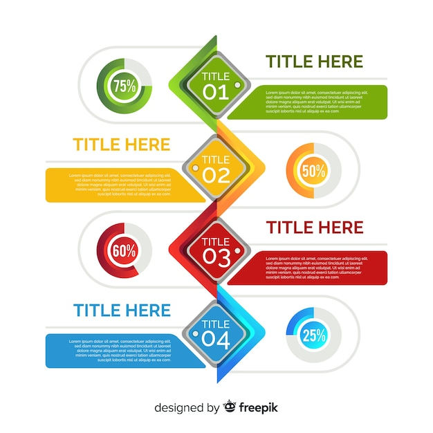Colorful template of infographic steps Free Vector