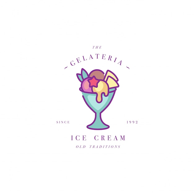 Colorful template logo or emblem - ice cream, gelato. ice cream icon. logo in trendy linear style  on white background. Premium Vector