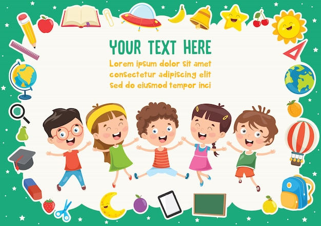 Colorful template with cute children Premium Vector