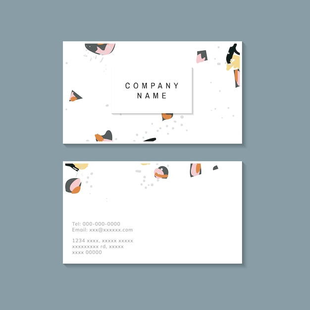 Colorful terrazzo pattern business card vector Free Vector