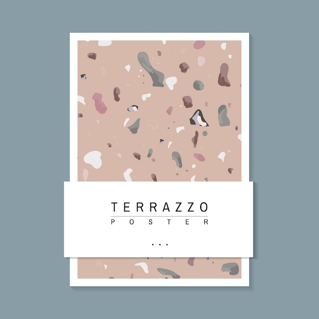 Colorful terrazzo pattern poster vector Free Vector