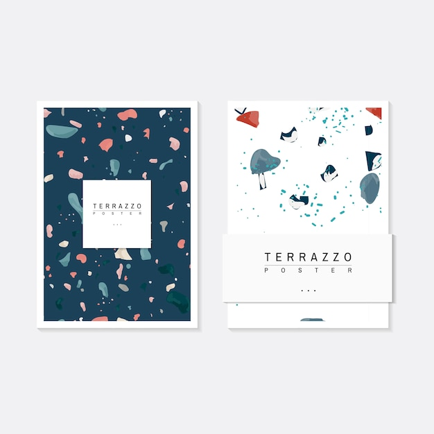 Colorful terrazzo pattern posters vector set Free Vector