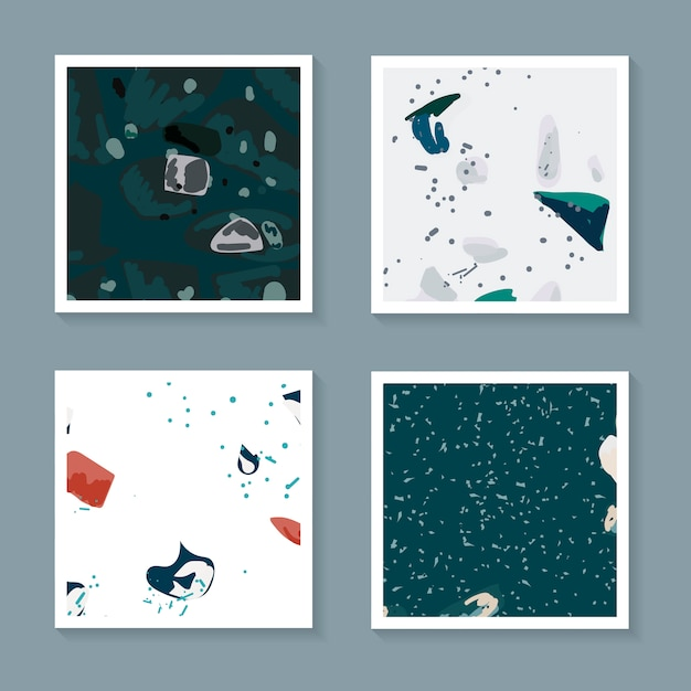 Colorful terrazzo seamless pattern cards vector set Free Vector
