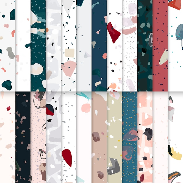 Colorful terrazzo seamless pattern posters vector set Free Vector