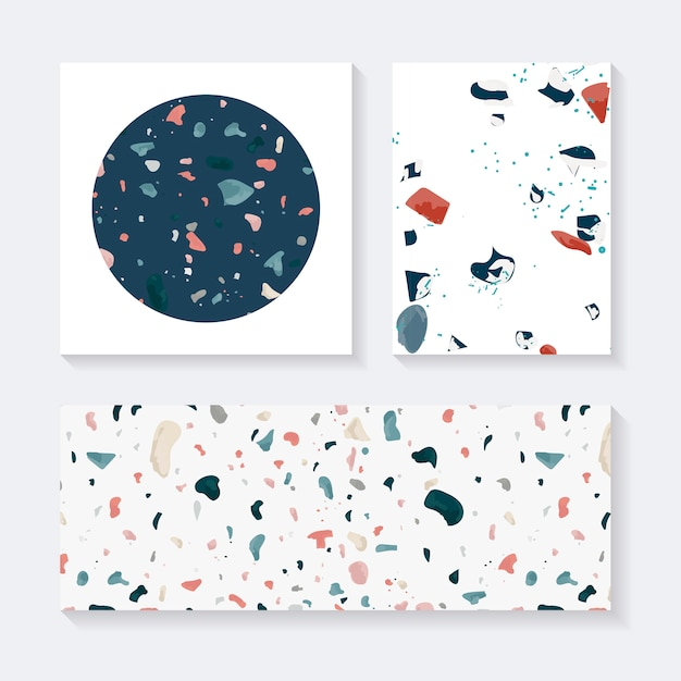 Colorful terrazzo seamless pattern tags vector set Free Vector