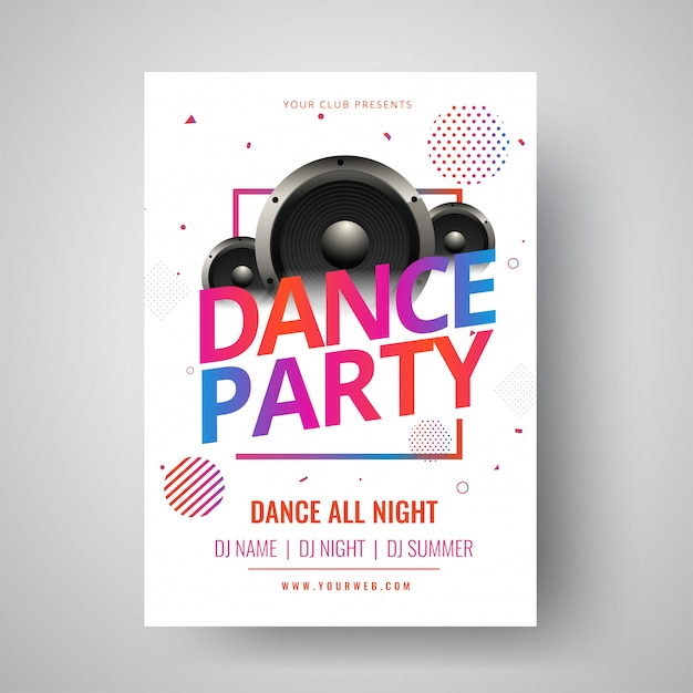 Colorful text dance party with illustration of woofer and abstra Premium Vector