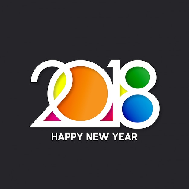 Colorful text design for new year 2018 Free Vector