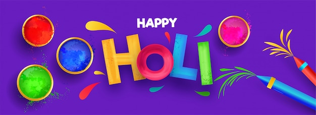 Colorful text holi with festival elements on purple background. Premium Vector