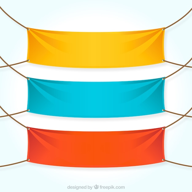 Colorful textile banners Free Vector