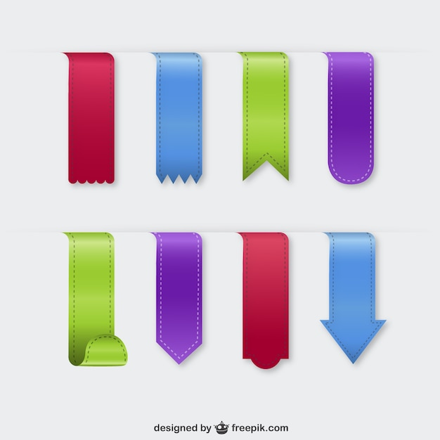 Colorful textile bookmarks Free Vector