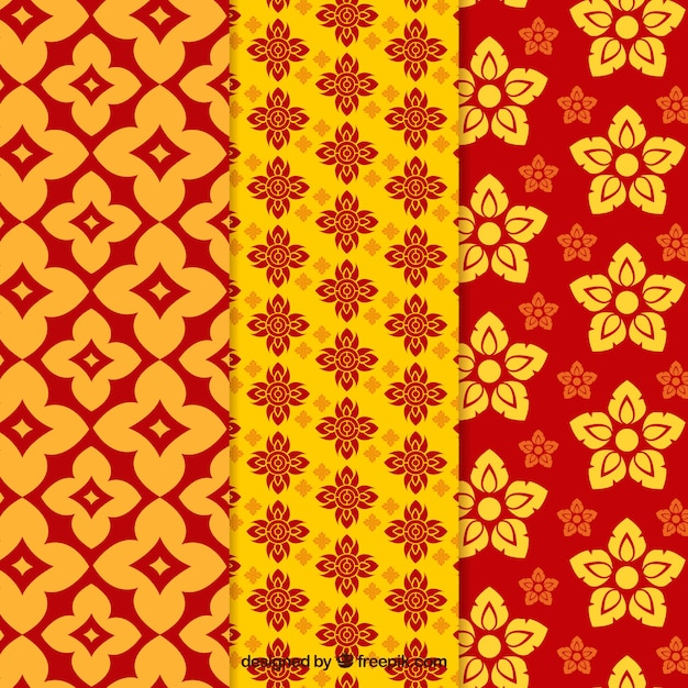 Colorful thai pattern collection with flat design Free Vector