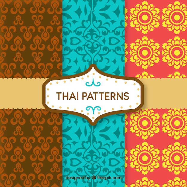 Colorful thai pattern with flat design Free Vector