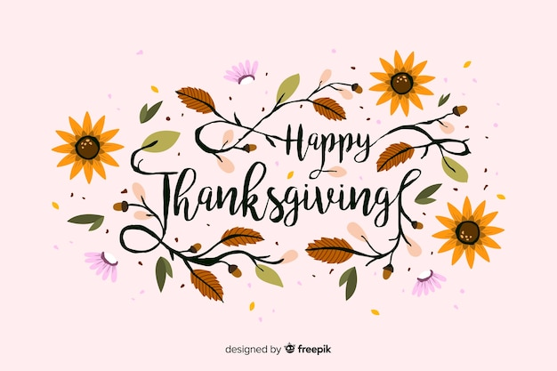 Colorful thanksgiving background in flat design Free Vector