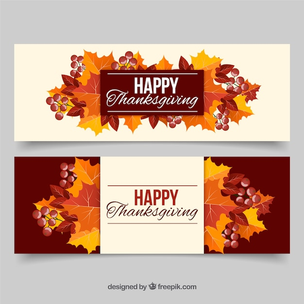 Colorful thanksgiving banners with\ leaves