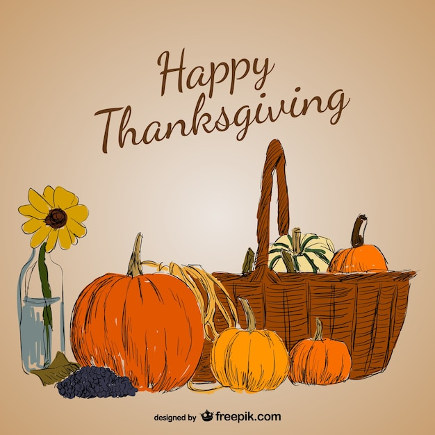 Colorful Thanksgiving card Free Vector