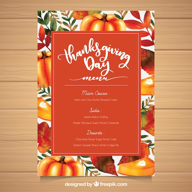 colorful thanksgiving menu template vector free download