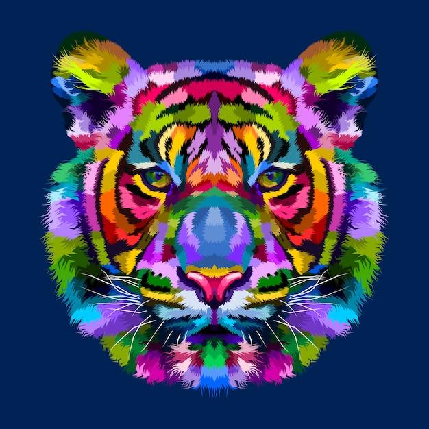 Красочные головы тигра, изолированных на синем фоне Premium векторы