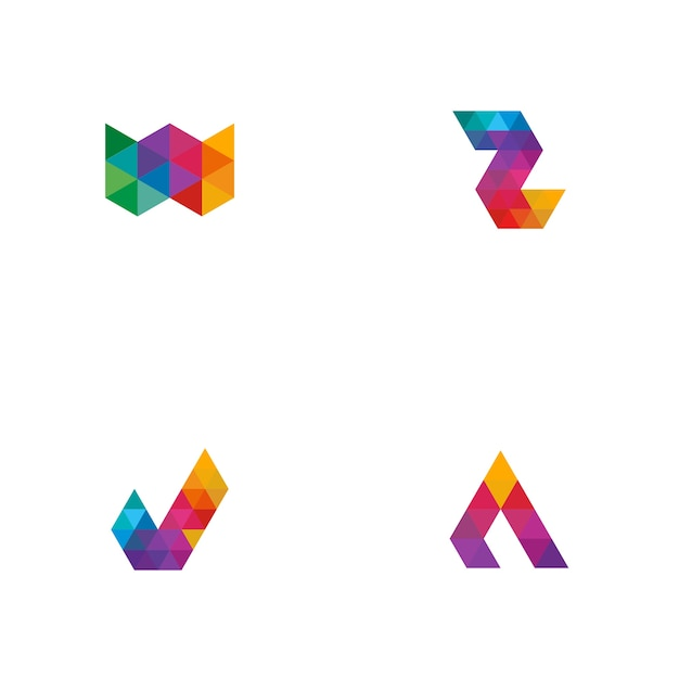 Colorful tile logo Premium Vector