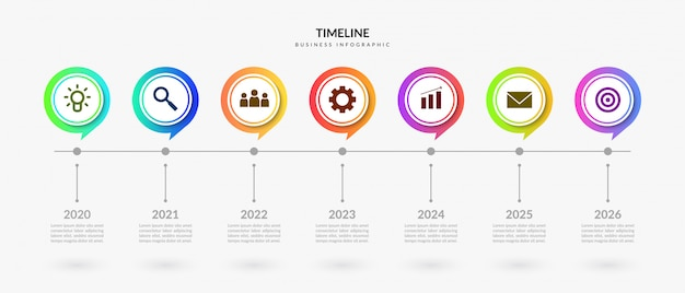 Colorful timeline infographic elements, business process graphic with multiple step Premium Vector