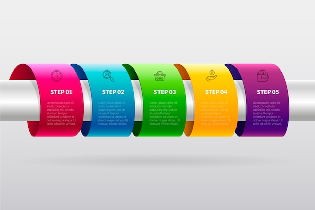 Colorful timeline infographic in gradient Free Vector