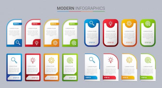 Красочный график инфографики шаблон с 4 шагами Premium векторы