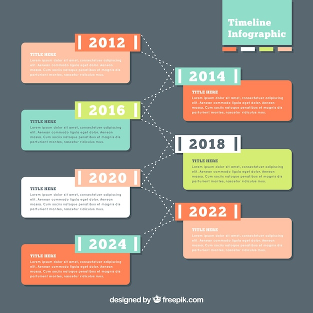 Colorful timeline infographic Vector | Free Download