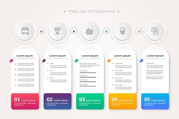 Красочные сроки инфографики Бесплатные векторы