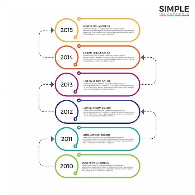 Colorful timeline infographics design vector. Premium Vector