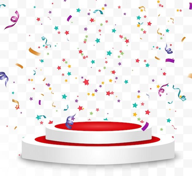 화려한 작은 색종이와 투명 배경에 리본. 축제 이벤트와 파티. 여러 가지 빛깔의 배경. 연단에 고립 된 다채로운 밝은 색종이. 프리미엄 벡터