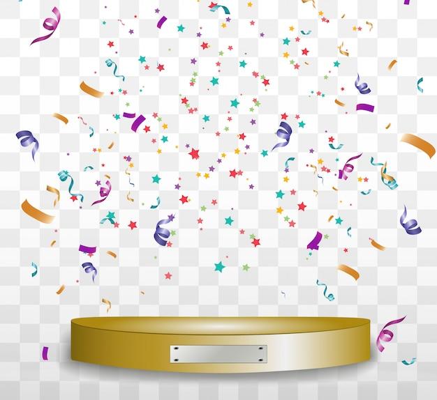 화려한 작은 색종이와 투명 배경에 리본. 축제 이벤트와 파티. 프리미엄 벡터