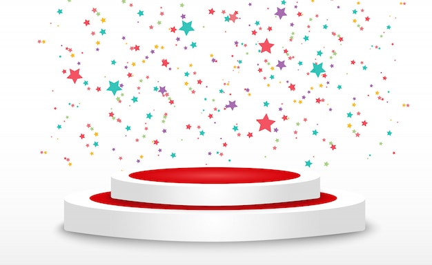 Colorful tiny confetti and ribbons on transparent background. festive event and party. multicolor background. colorful bright confetti isolated on the podium. Premium Vector