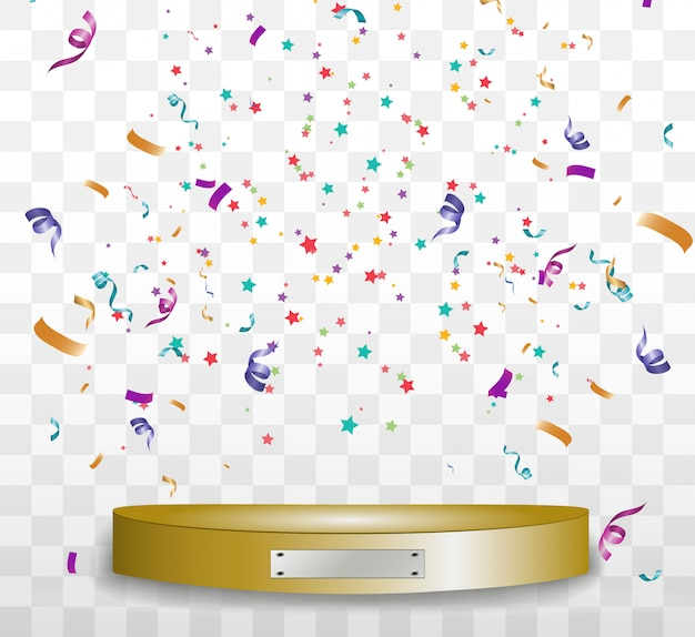 Colorful tiny confetti and ribbons on transparent background. festive event and party. Premium Vector