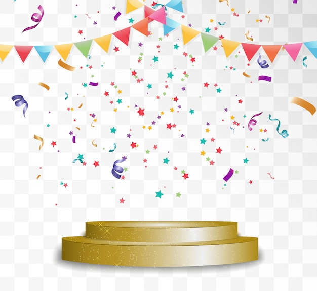 Colorful tiny confetti and ribbons on transparent background. Premium Vector