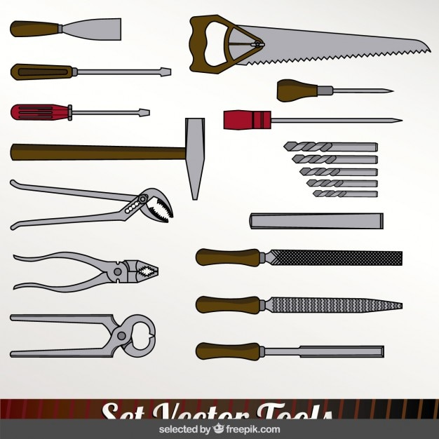 Colorful tools set Free Vector