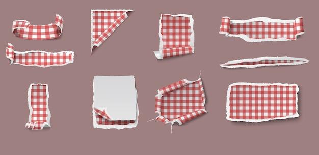 ギンガムチェックのテーブルクロスパターンが分離されたさまざまな形のカラフルな破れたぼろぼろの紙セット 無料ベクター