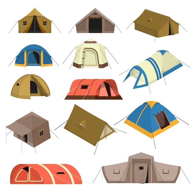 Colorful tourist tents set Free Vector